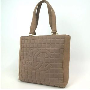 💯 Auth CHANEL Chocolate bar Tote bag